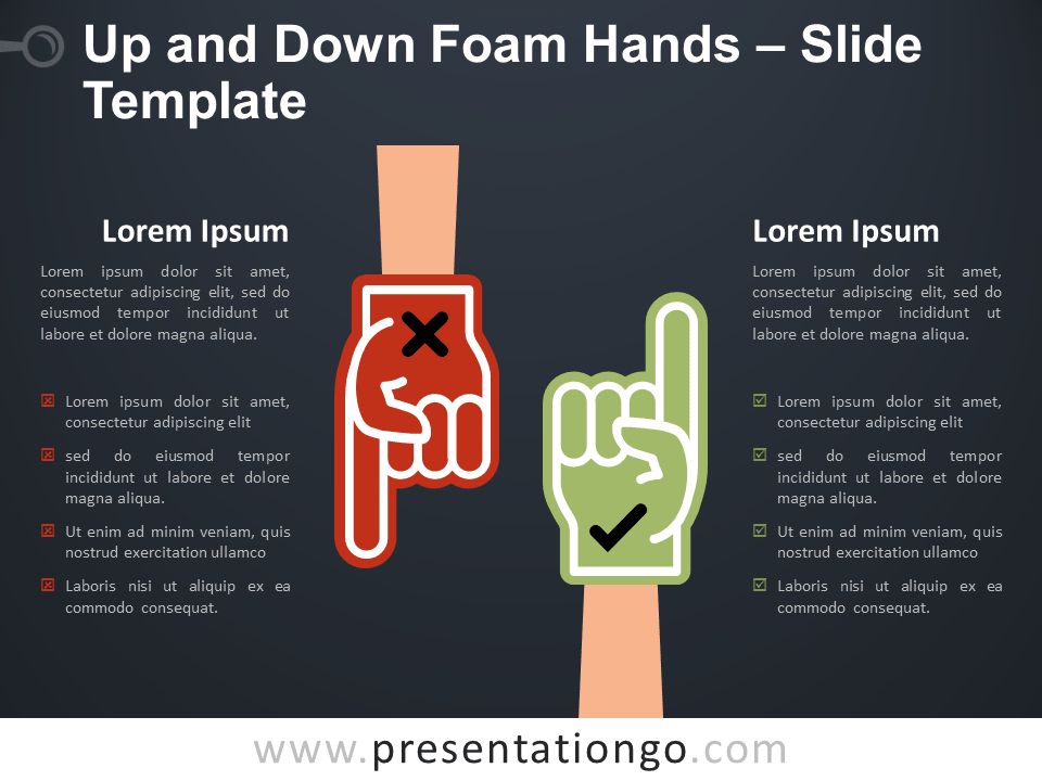 Free Up and Down Foam Hands Infographic for PowerPoint