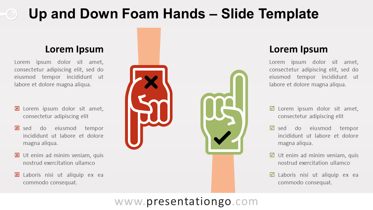 Free Up and Down Foam Hands for PowerPoint and Google Slides