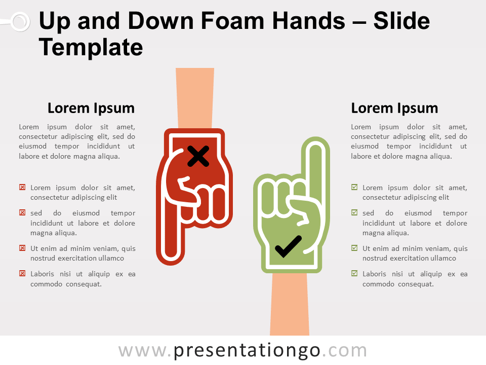 Free Up and Down Foam Hands for PowerPoint