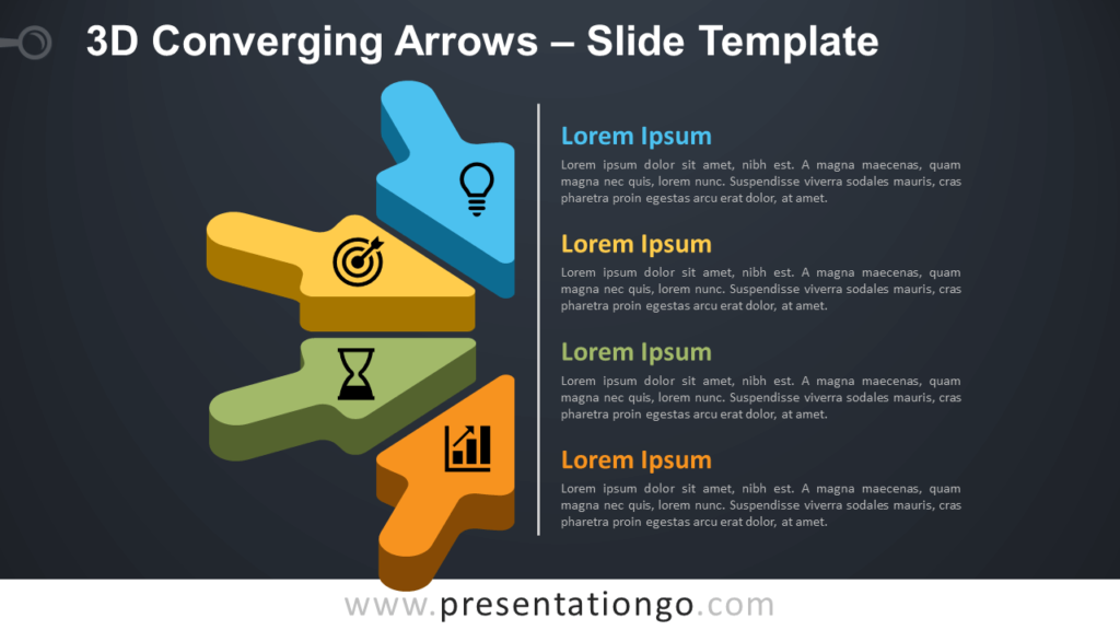 Free 3D Converging Arrows Infographic for PowerPoint and Google Slides