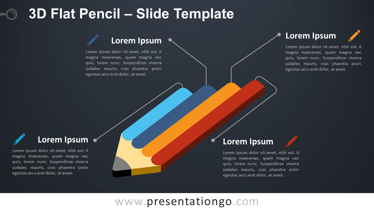 Free 3D Flat Pencil Infographic for PowerPoint and Google Slides
