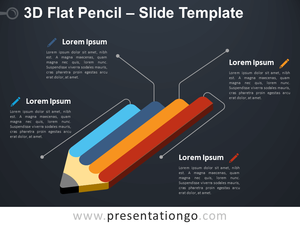 Free 3D Flat Pencil Infographic for PowerPoint