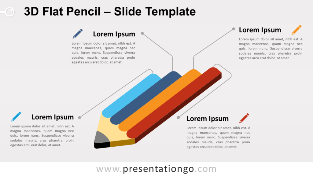 Free 3D Flat Pencil for PowerPoint and Google Slides