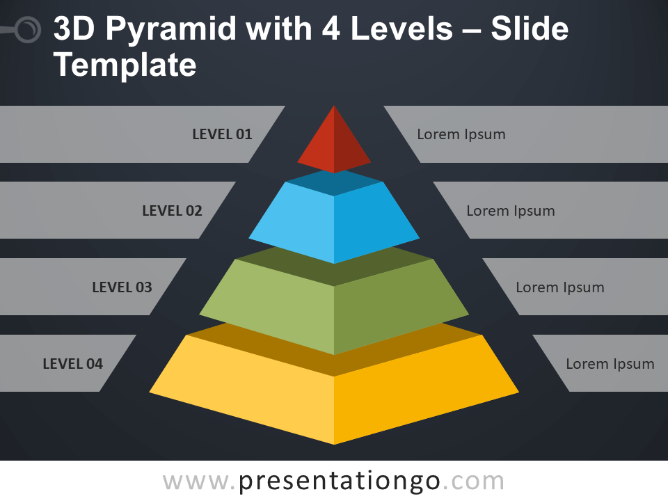 3d Pyramid With 4 Levels For Powerpoint And Google Slides