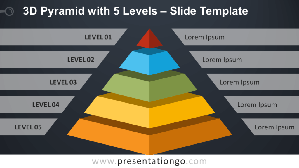 Free 3D Pyramid with 5 Levels Infographic for PowerPoint and Google Slides