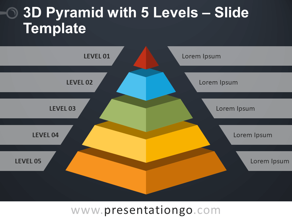 Free 3D Pyramid with 5 Levels Infographic for PowerPoint
