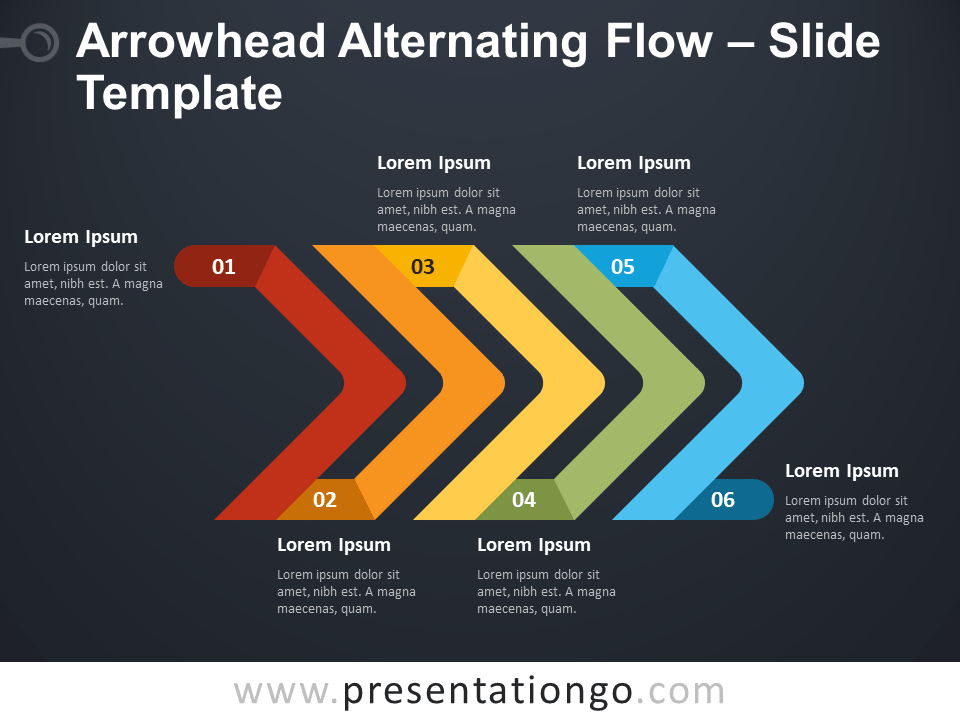 Free Arrowhead Alternating Flow Diagram for PowerPoint