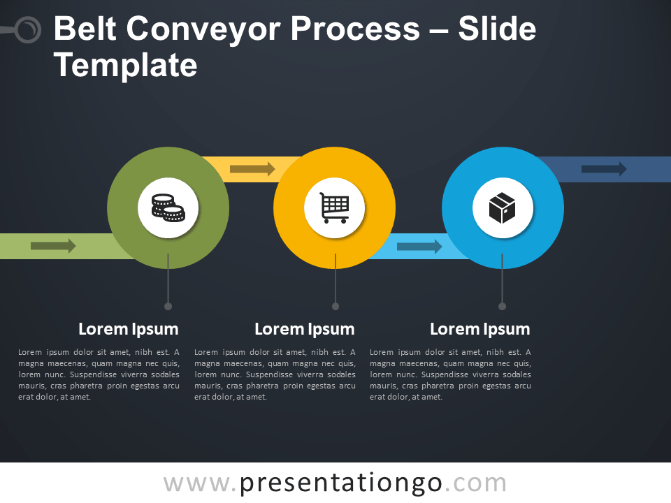 Free Belt Conveyor Process Template for PowerPoint