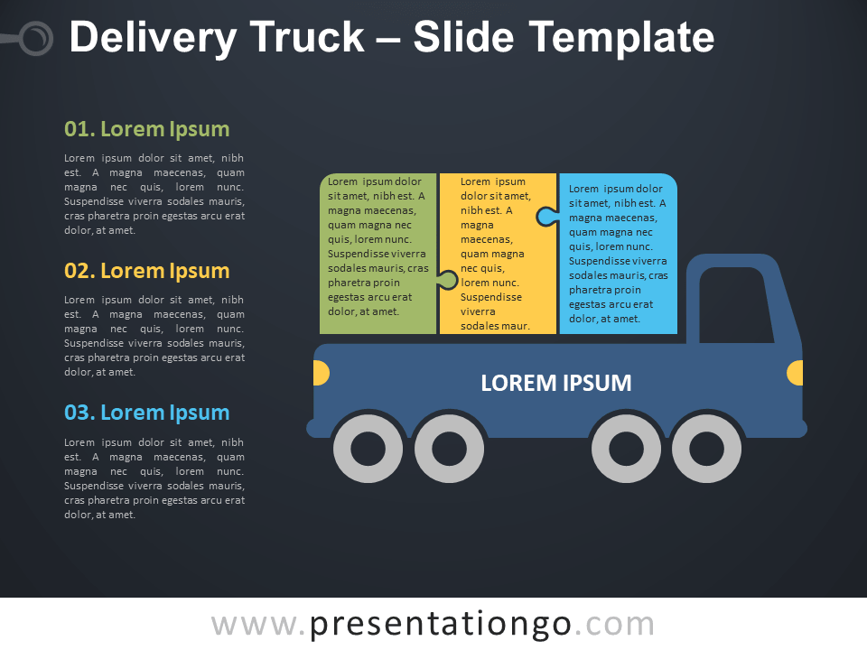 Free Delivery Truck Infographic for PowerPoint