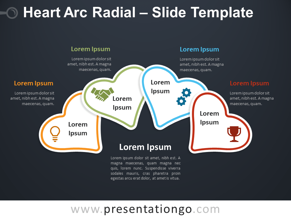 Free Heart Arc Radial Diagram for PowerPoint