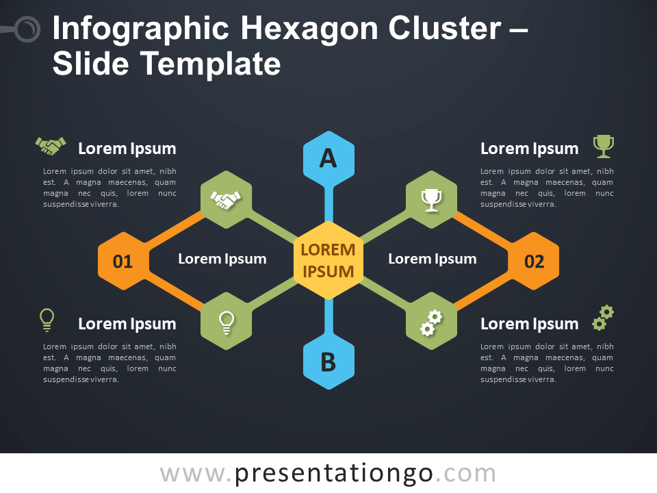 Free Infographic Hexagon Cluster Template for PowerPoint