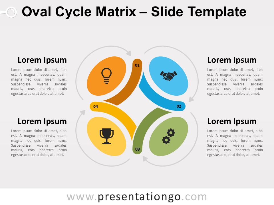 Free Oval Cycle Matrix Diagram for PowerPoint