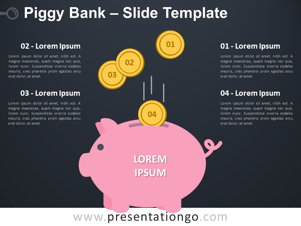 Free Piggy Bank Infographic for PowerPoint