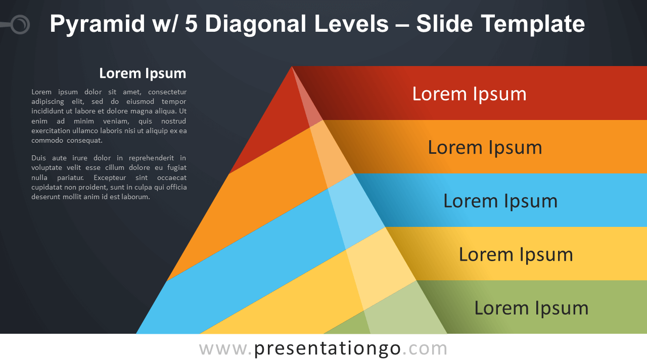 Free Pyramid with 5 Diagonal Levels Infographic for PowerPoint and Google Slides