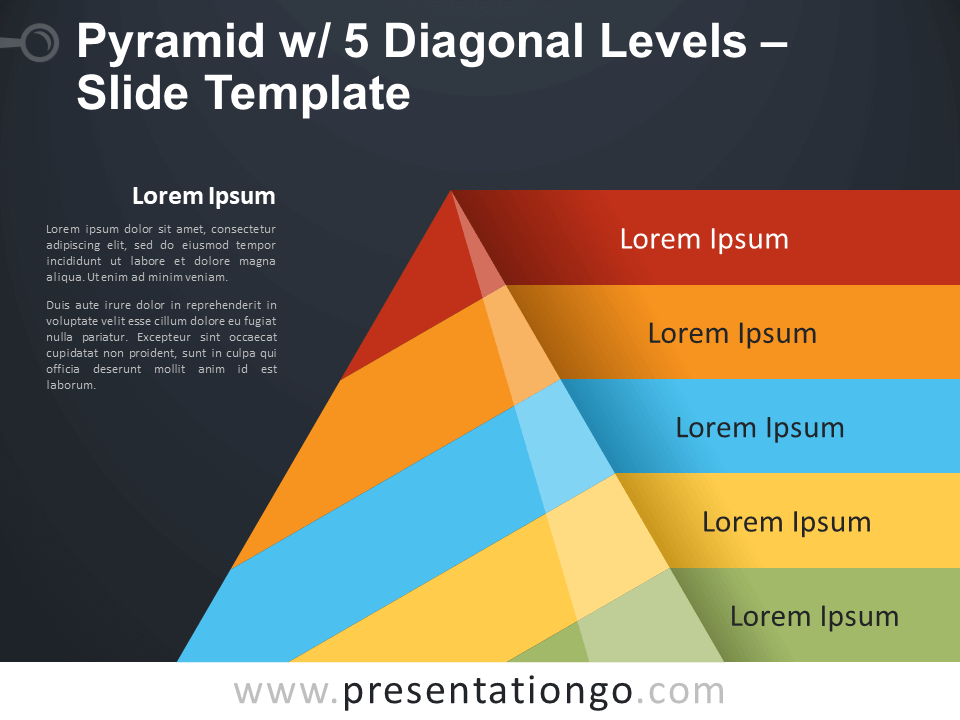Free Pyramid with 5 Diagonal Levels Infographic for PowerPoint