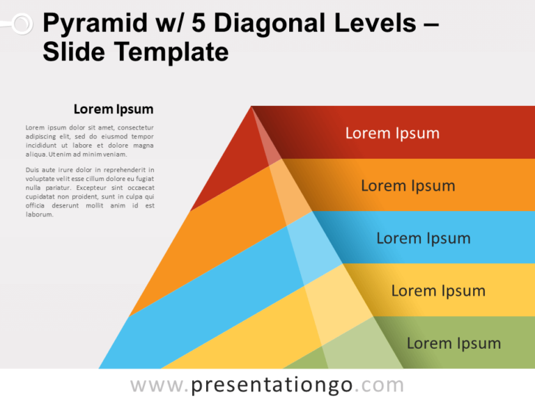 Free Pyramid with 5 Diagonal Levels for PowerPoint
