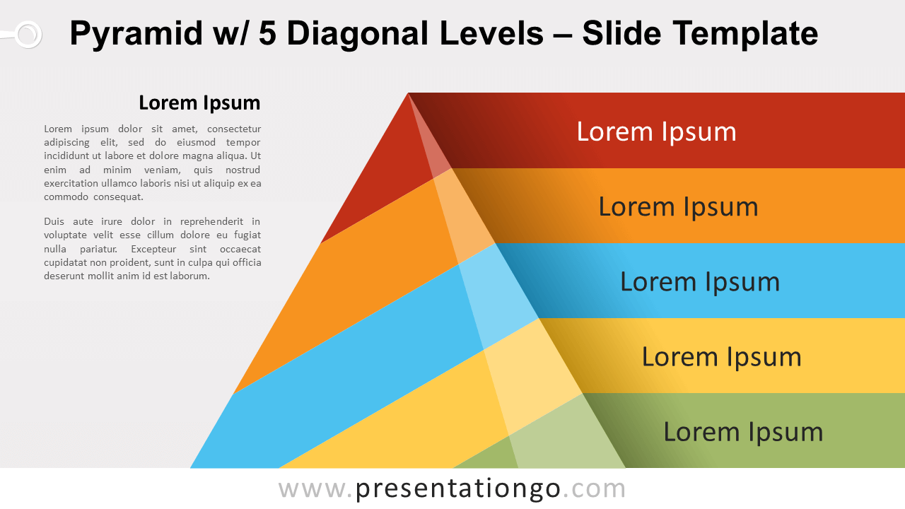 Free Pyramid with 5 Diagonal Levels for PowerPoint and Google Slides