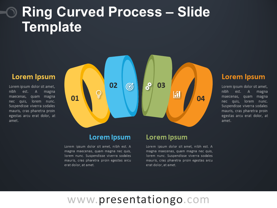 Free Ring Curved Process Template for PowerPoint