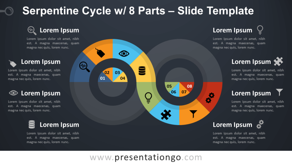 Free Serpentine Cycle with 8 Parts Infographic for PowerPoint and Google Slides