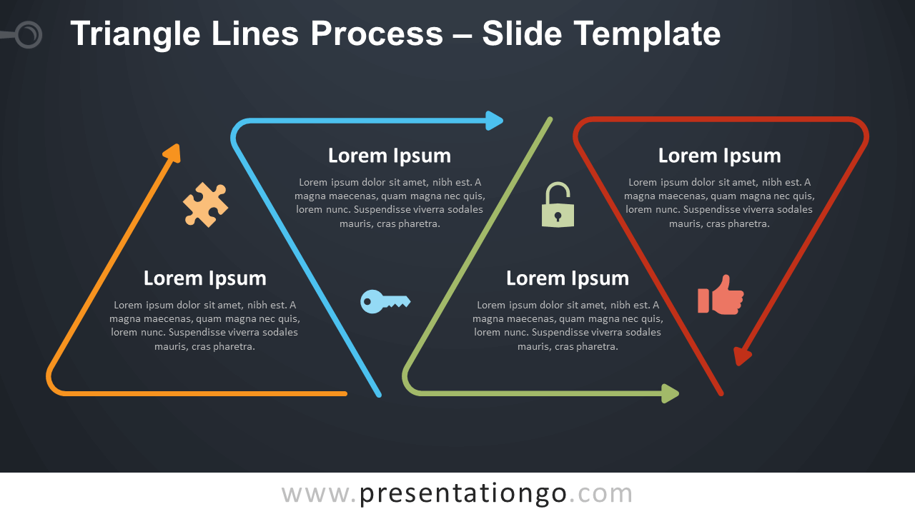 Free Triangle Lines Process Infographic for PowerPoint and Google Slides