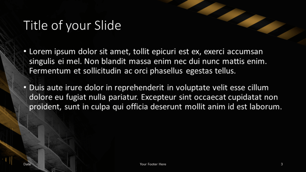 Free Construction Template for Google Slides - Title and Content (variant 2)