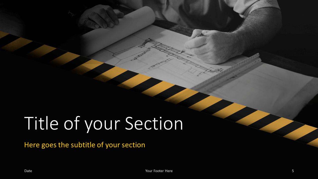 Free Construction Template for Google Slides - Section (variant 2)