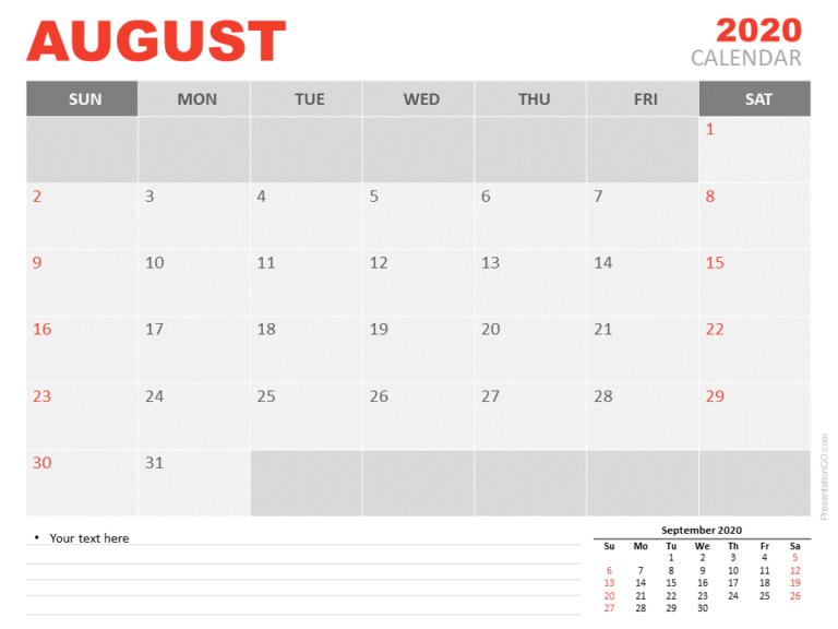 Free Calendar 2020 August Planning for PowerPoint