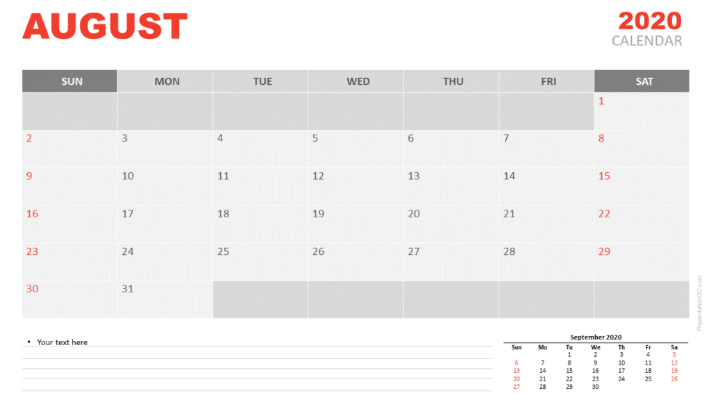 Free Calendar 2020 August Planning for PowerPoint and Google Slides