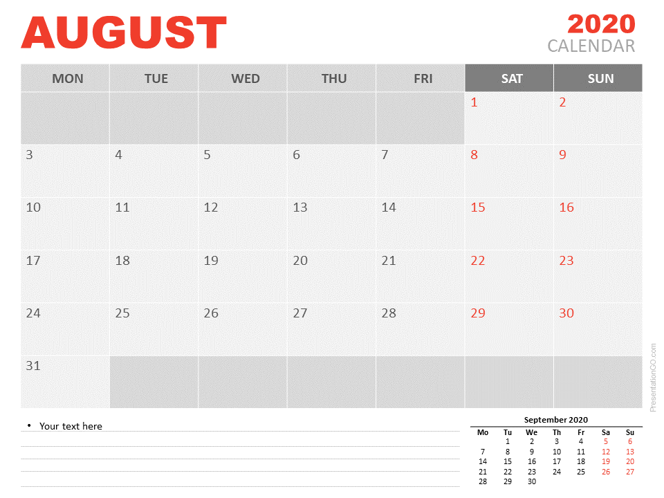 Free Calendar 2020 August for PowerPoint