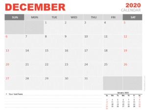 Free Calendar 2020 December Planning for PowerPoint