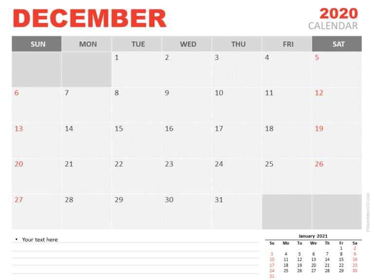 Free Calendar 2020 December Planning for PowerPoint