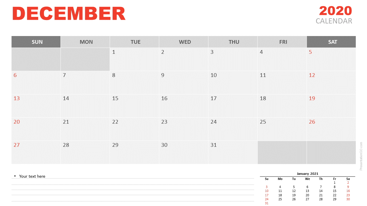 Free Calendar 2020 December Planning for PowerPoint and Google Slides
