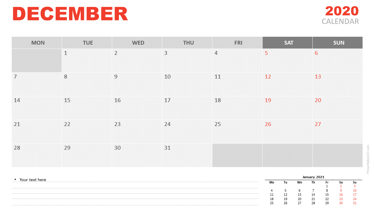 Free Calendar 2020 December for PowerPoint and Google Slides