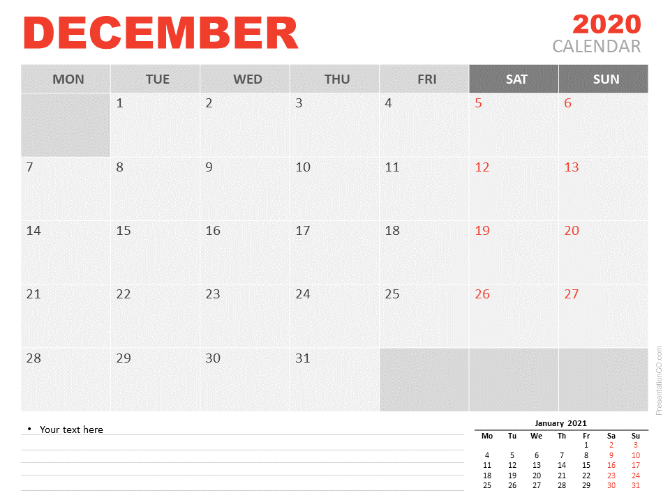 December 2020 Calendar for PowerPoint and Google Slides