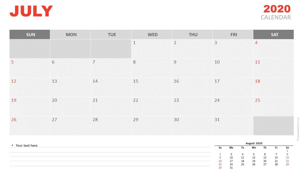 Free Calendar 2020 July Planning for PowerPoint and Google Slides