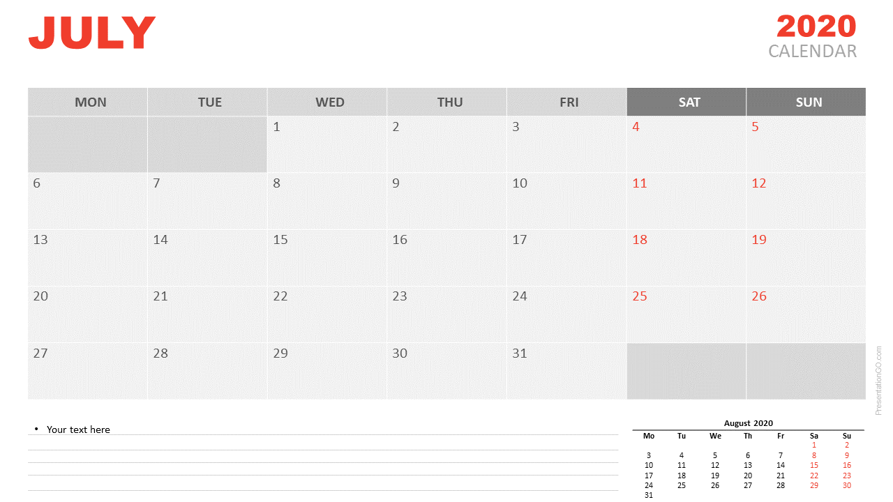 Free Calendar 2020 July for PowerPoint and Google Slides