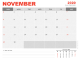 Free Calendar 2020 November Planning for PowerPoint