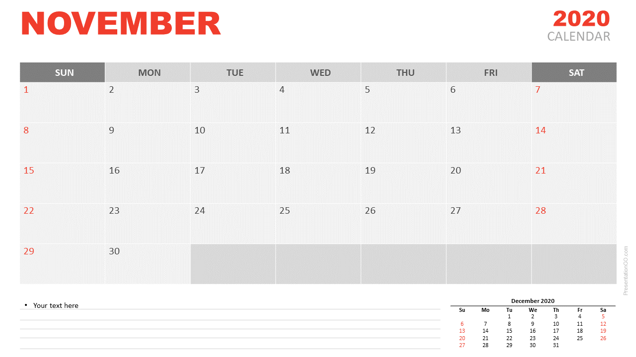 Free Calendar 2020 November Planning for PowerPoint and Google Slides