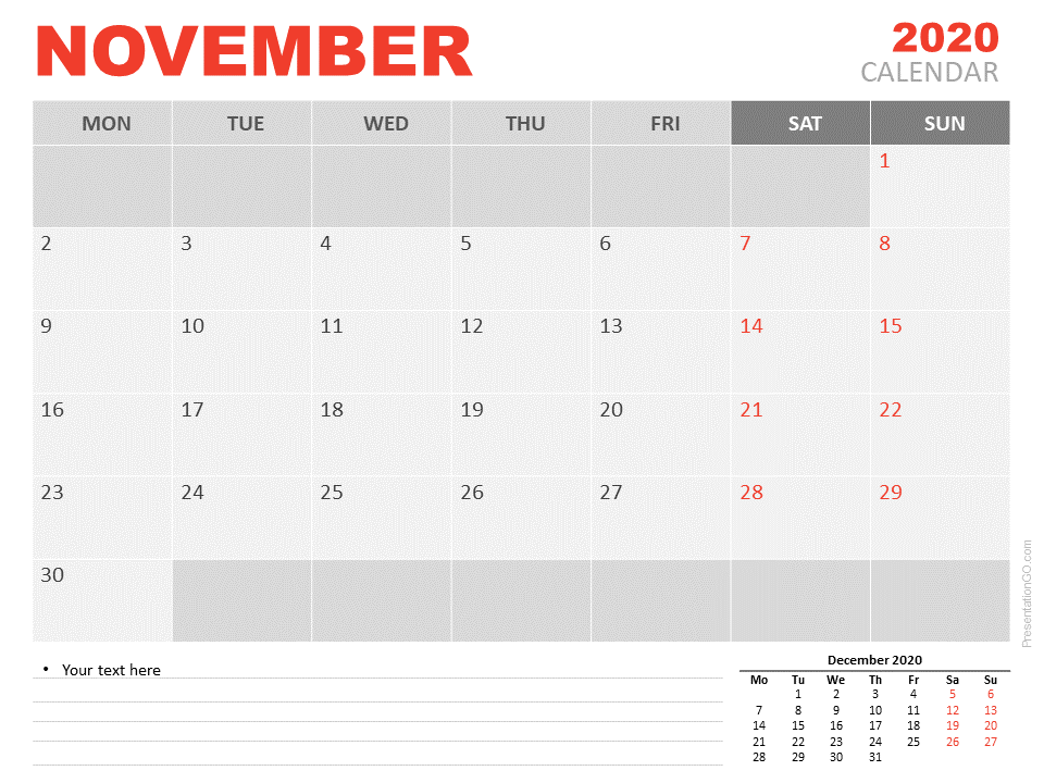 Free Calendar 2020 November for PowerPoint