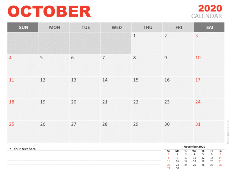 Free Calendar 2020 October Planning for PowerPoint
