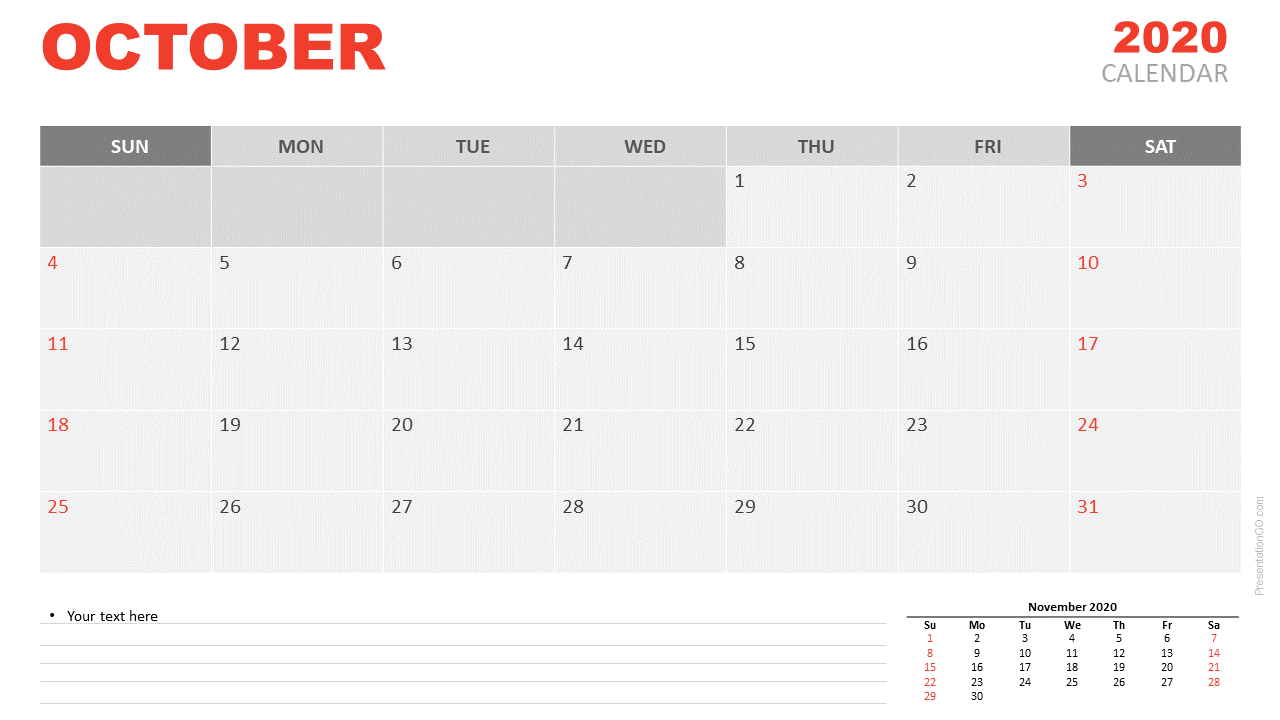 Free Calendar 2020 October Planning for PowerPoint and Google Slides