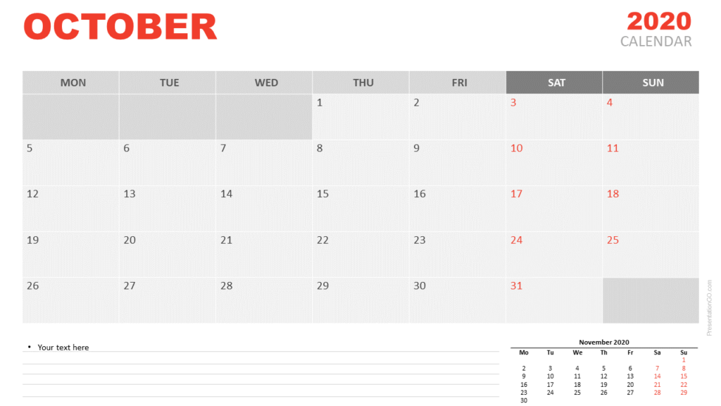 Free Calendar 2020 October for PowerPoint and Google Slides