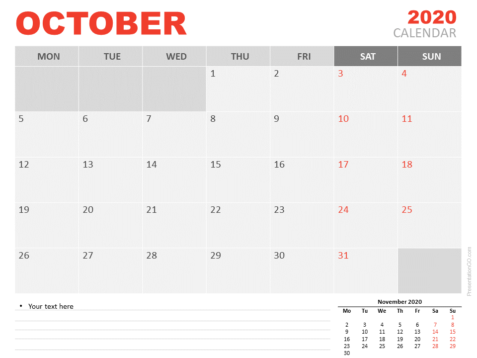 Free Calendar 2020 October for PowerPoint
