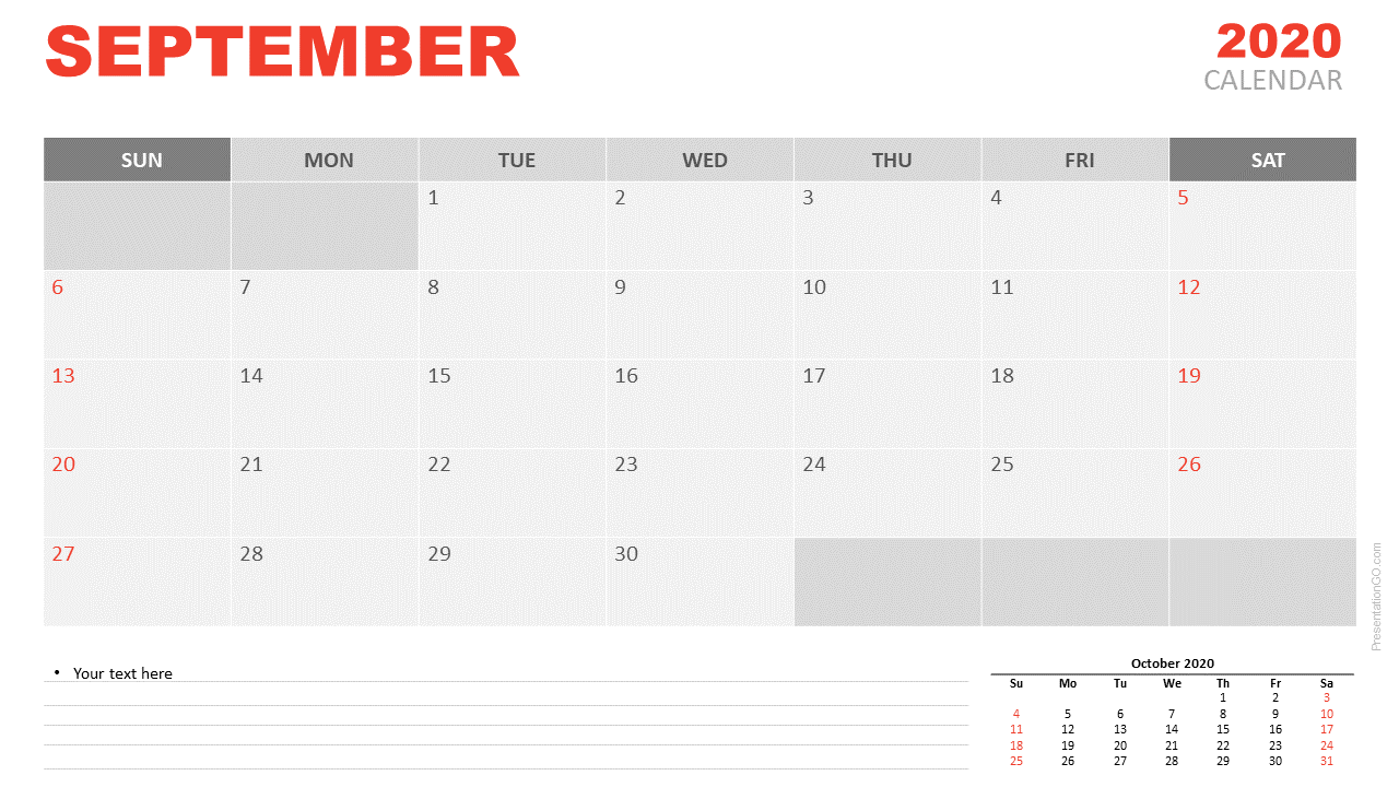 Free Calendar 2020 September Planning for PowerPoint and Google Slides