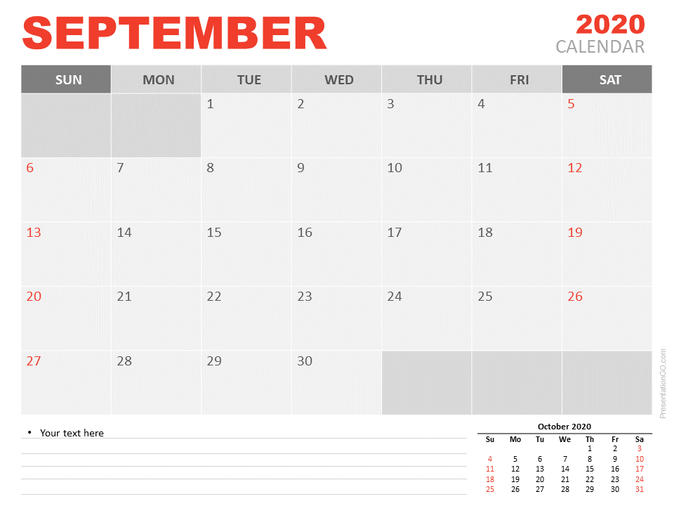 Free Calendar 2020 September Planning for PowerPoint