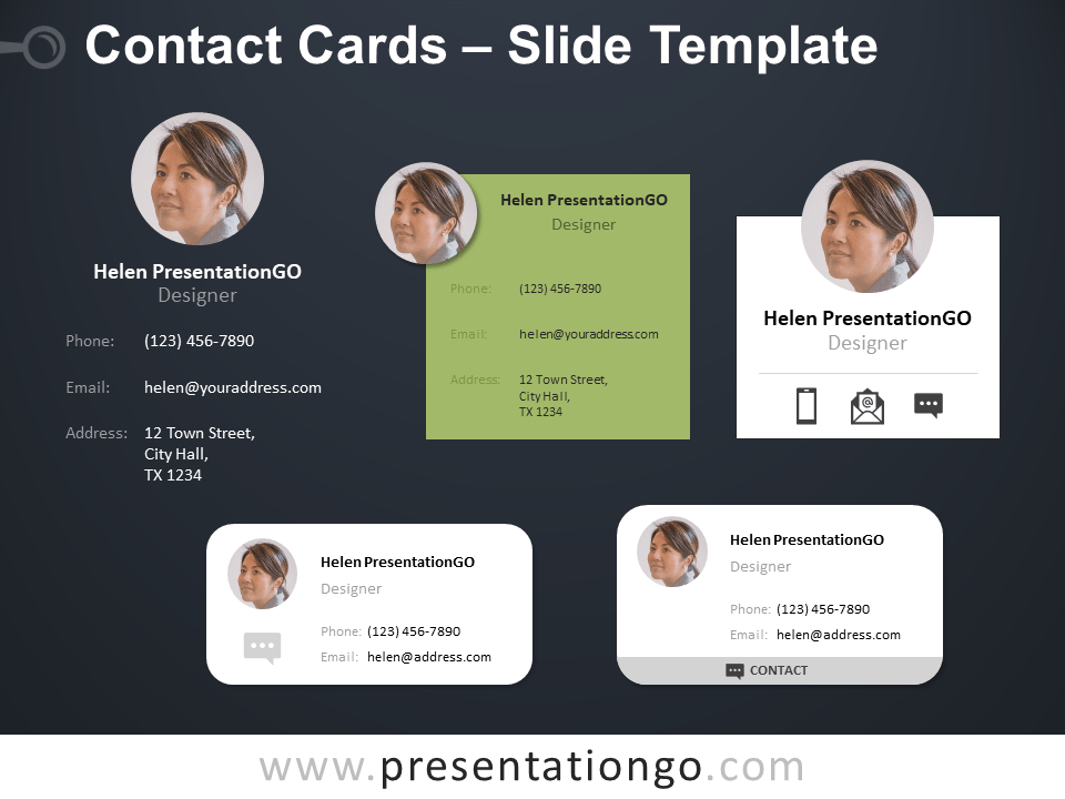 Free Contact Cards Template for PowerPoint