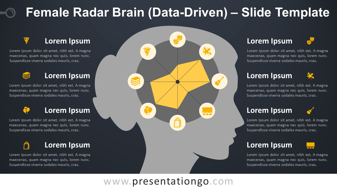 Free Female Radar Brain Diagram for PowerPoint and Google Slides