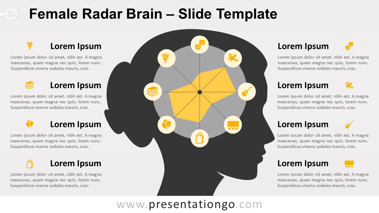 Free Female Radar Brain for PowerPoint and Google Slides