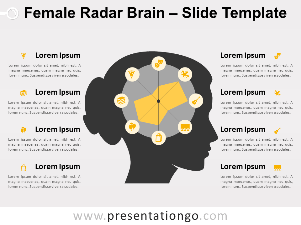 Free Female Radar Brain for PowerPoint