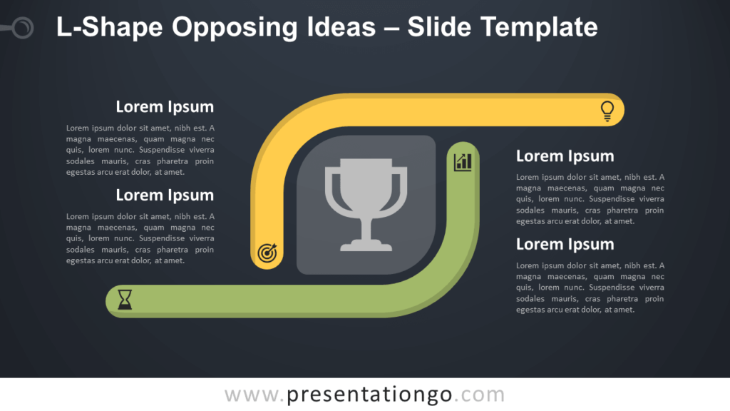 Free L-Shape Opposing Ideas Diagram for PowerPoint and Google Slides